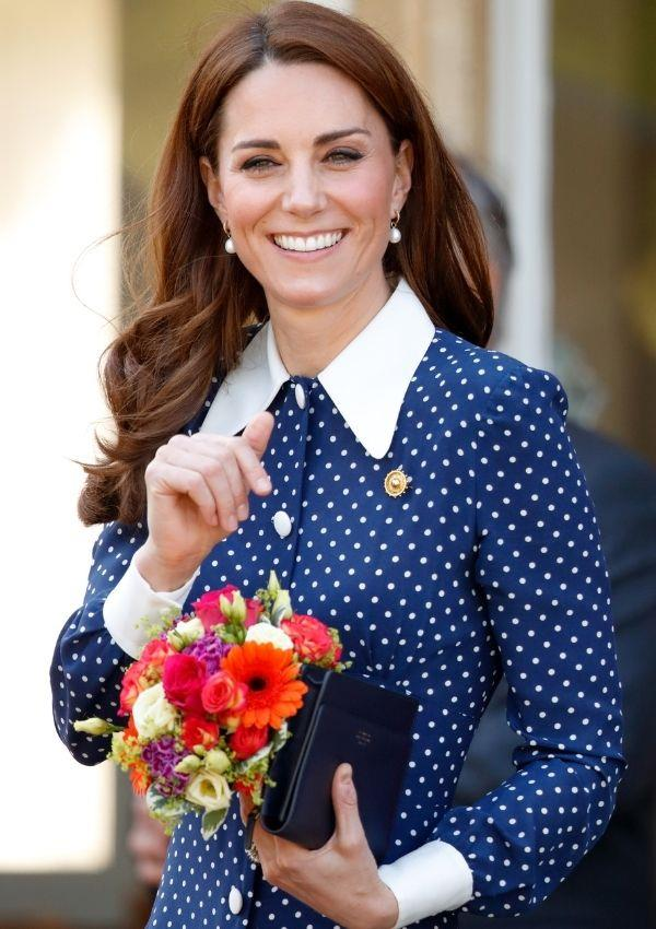 Kate wore this buttoned-up polka dot dress with a peter pan collar to an event in 2019. It's quite a refined take on the pattern, which will never go out of style.