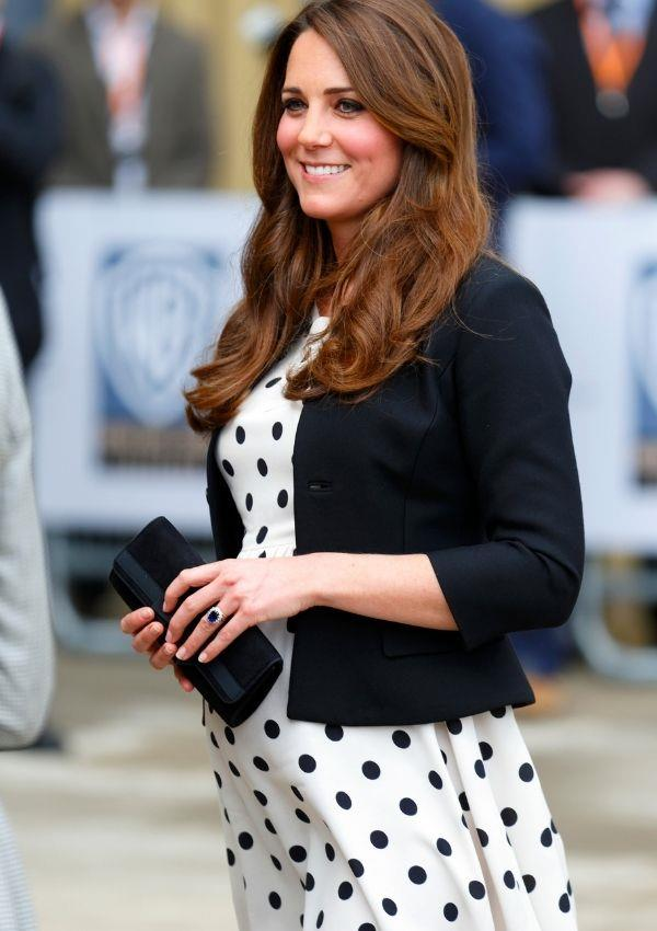 Now for the polka dot maternity dress we will never forget! Kate never ever stops wearing this pattern.