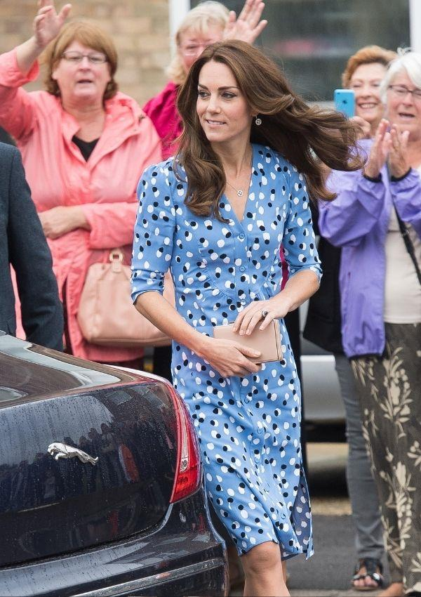 Kate arrived at the Stewards Academy in 2016 in a '70s inspired polka dot wrap dress, which is a look that could work for any occasion.