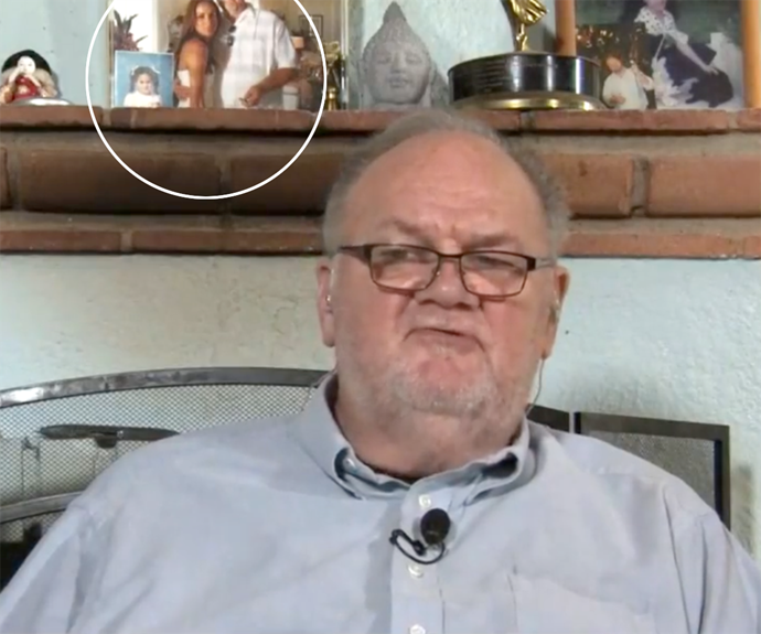 Thomas Markle had two photos of Meghan in shot for his interview.