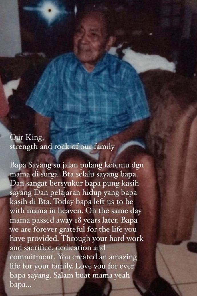Jess shared a tribute to her Bapa on Instagram.