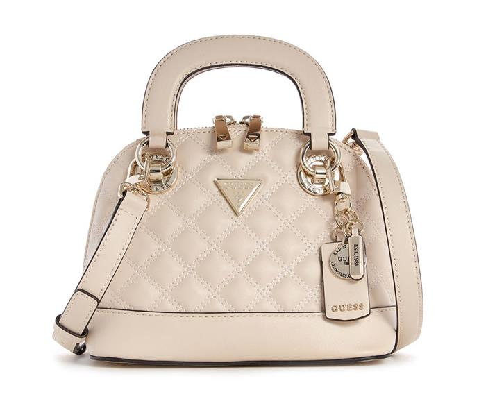 """[Shop the **Cessily Small Dome Satchel** for $169 from Guess.](https://fave.co/3lw92o6 target=""""_blank"""" rel=""""nofollow"""")"""