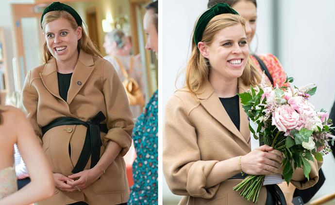 Princess Beatrice's beautiful baby bump was on full display, wrapped in a camel-coloured trench coat and a black leather belt tied over her bundle.