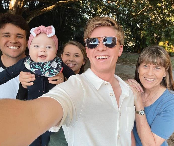 """Ever the doting uncle, Robert Irwin posted a family selfie and he couldn't help but comment on his niece's modelling chops. He wrote, """"Grace loves a good selfie 😁."""""""