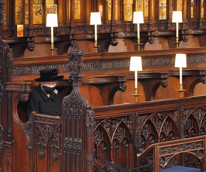 Her Majesty had to sit alone at her husband's funeral due to COVID-19 restrictions.