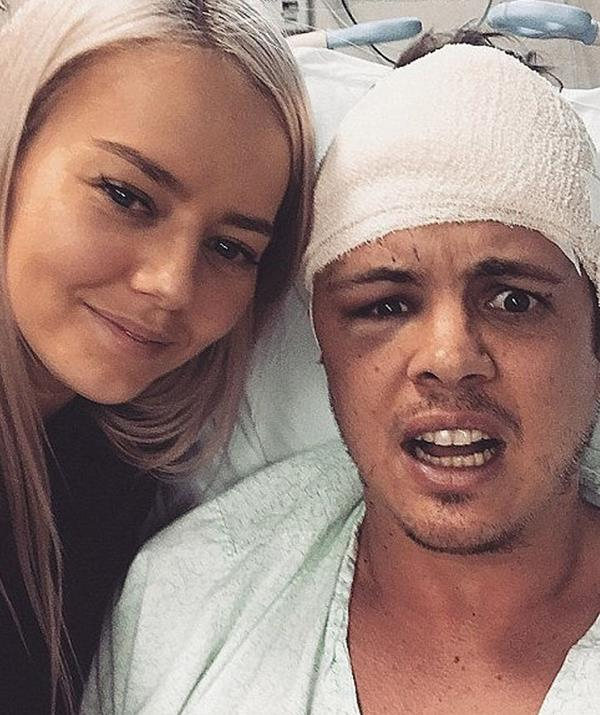 """Taking to Instagram on Sunday mid walk with his girlfriend Tahnee Sims, the *X Factor* alum revealed he is still undergoing chemotherapy treatment but """"doing great""""."""