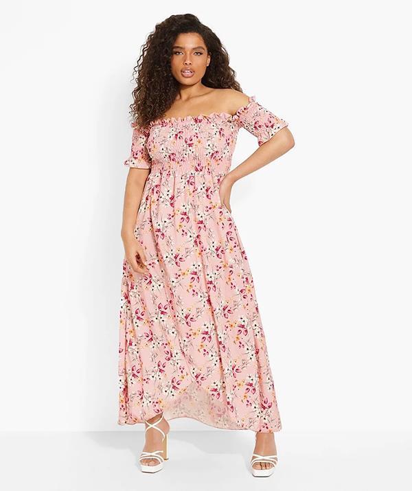 "[Shop the **Plus Floral Off Shoulder Maxi Dress** here on sale for $28.](https://fave.co/3CB7jVL target=""_blank"" rel=""nofollow"")"