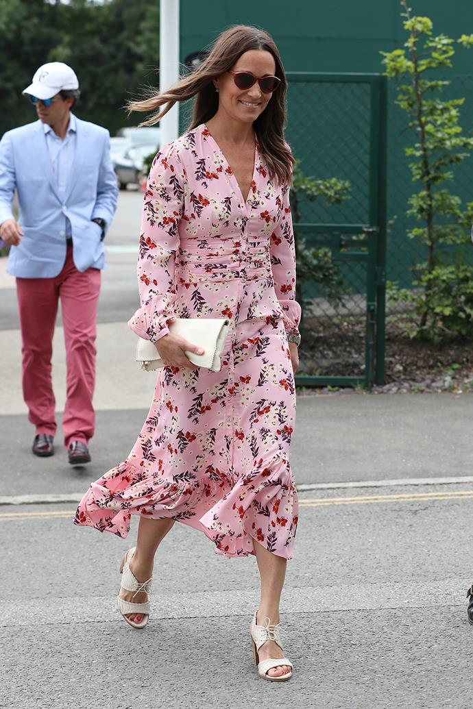 Pippa wore a similar pink frock in 2019 to attend Wimbledon.