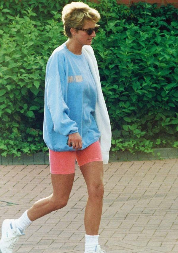 In 1994, Diana single-handedly forecasted 2021s biggest trend when she stepped out of the Chelsea Harbour Club wearing a pale blue sweatshirt, pink cycling shorts, and sunglasses.