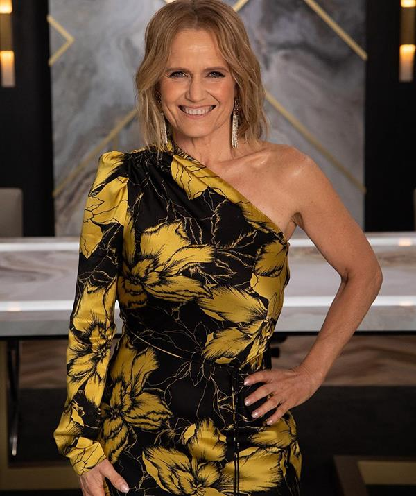 Shaynna stunned in this Rebecca Vallance satin number during a boardroom meeting on *Celebrity Apprentice* earlier this year. <br><br> The midi dress, from the Aussie designer's Fall 2020 collection, features a slightly ruffled shoulder and tie-up waist, and retails for AUD$660.