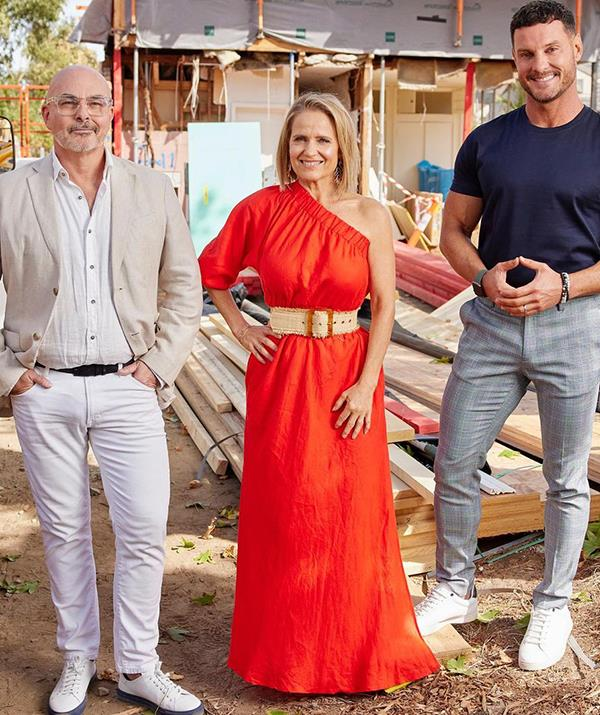 To kick off the 2021 season of *The Block,* Shaynna turned heads in this bright red maxi dress, which, you guessed it, was also one-shoulder. <br><br> The style icon paired the $550 frock with a chunky straw belt and accessories from Saint Valentine Jewellery.