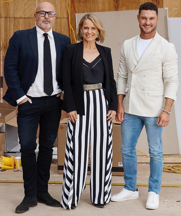 Shaynna mixed affordable pieces with luxury Australian labels earlier this season on *The Block*, and boy does she know how to rock a palazzo pant. <br><br> The television personality donned Prada stilettos, Sass and Bide pants, a Dion Lee blazer with a simple cami from Forever New.