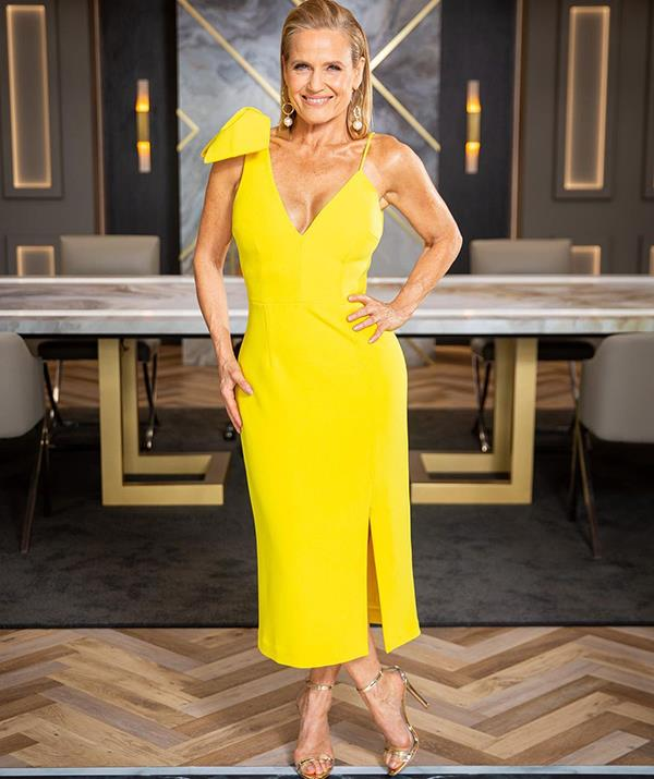 Shaynna was a vision in yellow in this stunning Rebecca Vallance frock. <br><br> And while it wasn't Shaynna's signature one-shoulder style, the $649 dress did feature a bow statement detail.