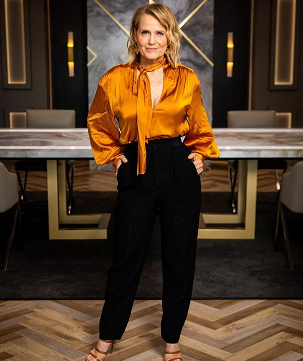 """Who said pussy bow blouses couldn't be stylish?  <br><br> Shaynna oozed corporate chic in this $399 Manning Cartel shirt and Scanlan & Theodore trouser ensemble for a [boardroom meeting on *Celebrity Apprentice.*](https://www.newidea.com.au/celebrity-apprentice-ross-noble-jk-rowling