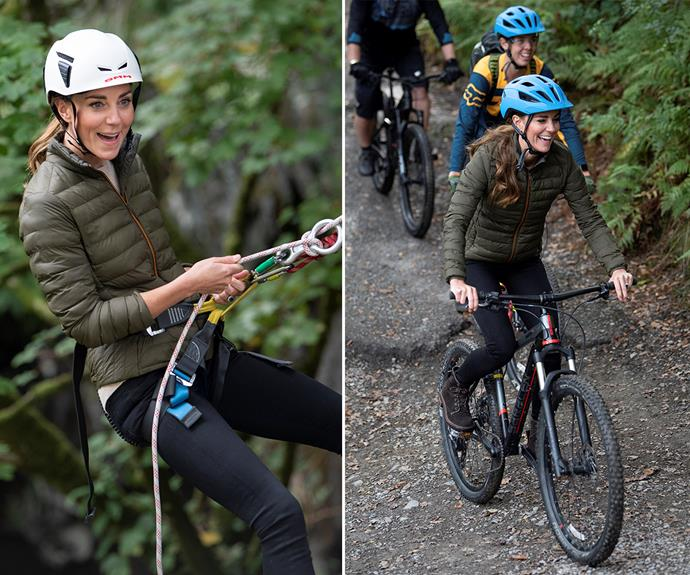 Catherine, Duchess of Cambridge donned a casual outfit for her hands-on activities.