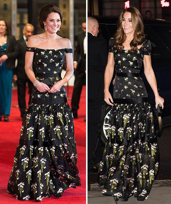 The duchess had an Alexander McQueen gown altered so she could rewear it in 2019.