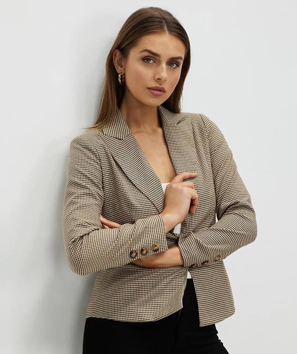 """[Shop the **Atmos&Here Rejina Check Blazer** here on sale for $71.99.](https://fave.co/3zuCeko