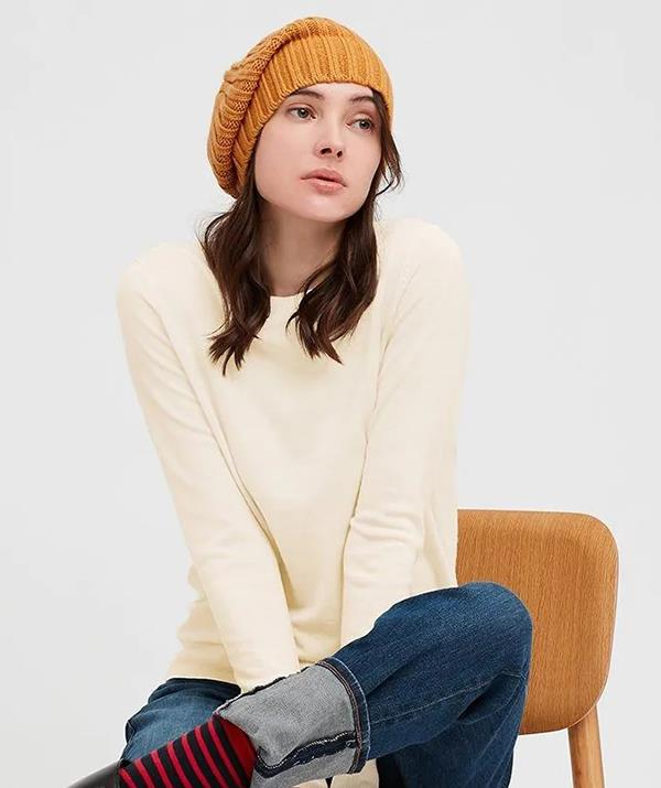 """[Shop the **Uniqlo Extra Fine Merino Wool Crew Neck Sweater** here for $49.90.](https://fave.co/3Czdrh7
