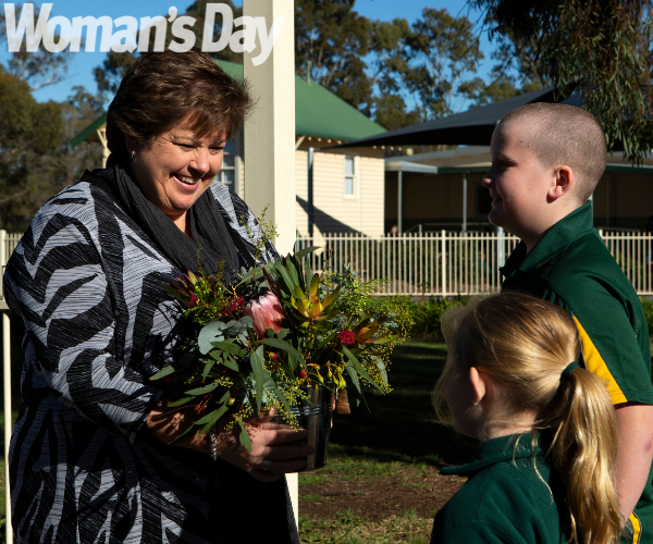 Debbie, aka Miss H, receives some well-deserved flowers from Blooming Buckets Kialla