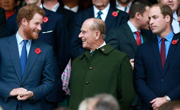 Prince Harry shares a laugh with Prince Philip before his death.
