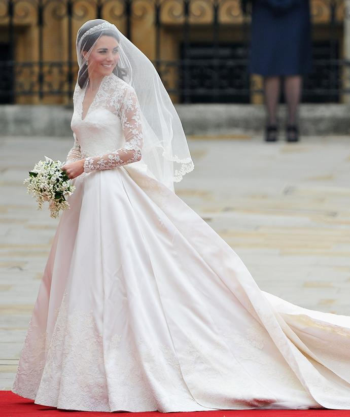 Catherine's lace gown was created by Sarah Burton at Alexander McQueen.