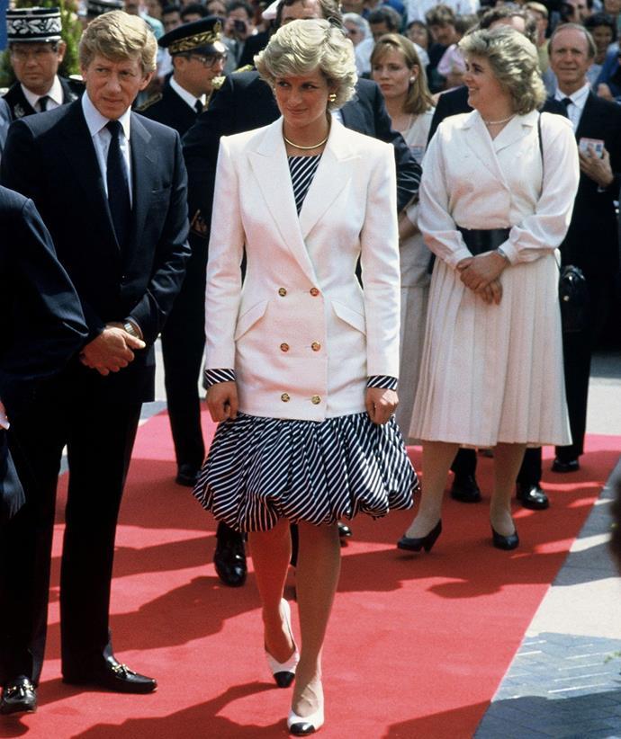 Princess Diana was fond of a white blazer.