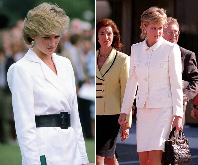 The Princess of Wales often styles white blazers with matching skirts.