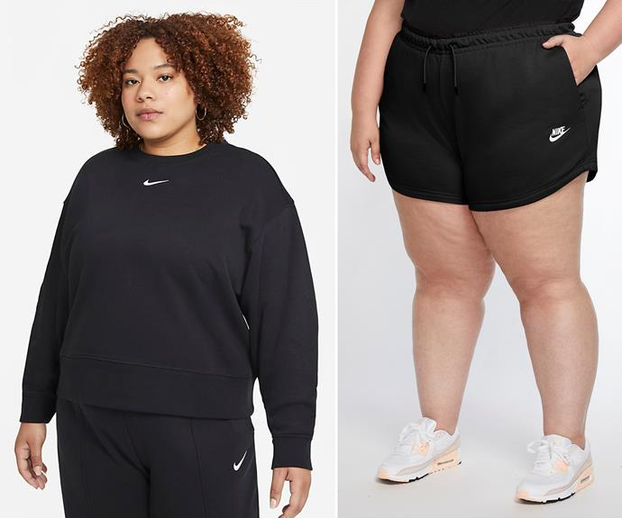 """Shop the [Plus Size Women's Shorts here for $55](https://fave.co/39vfuGo target=""""_blank"""" rel=""""nofollow"""") and the matching [Oversized Fleece Crew here for $75.](https://fave.co/39BikJT target=""""_blank"""" rel=""""nofollow"""")"""