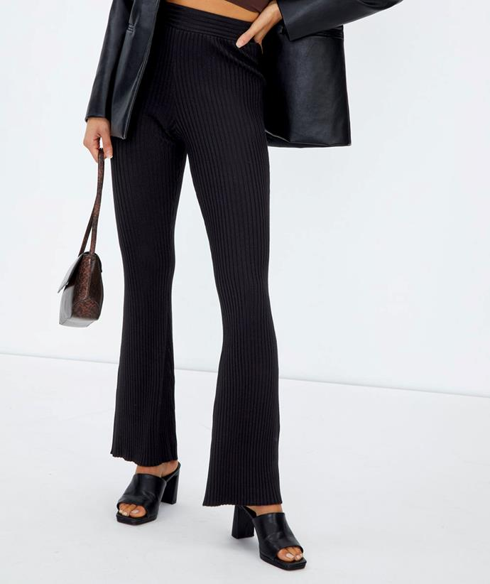 """[Shop the Ribbed Flare Knit Pant here for $49.99.](https://fave.co/3zCUwA2 target=""""_blank"""" rel=""""nofollow"""")"""