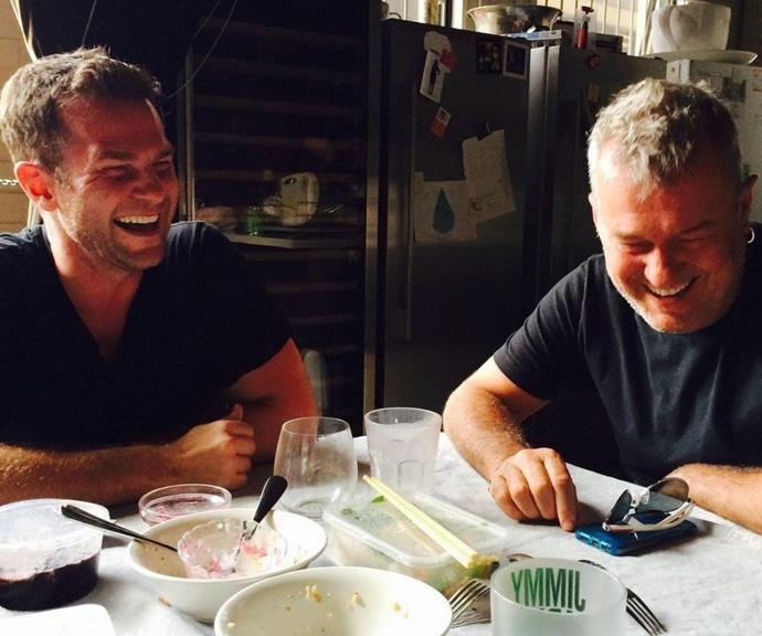 """For Jimmy's birthday, David shared this sweet picture from the dinner table, and captioned the moment, """"Happy birthday to my Dad. 64 today. You have never been better as a man, father and Grandfather. I love you."""""""