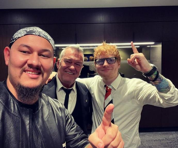 Jimmy's son Jackie shared this snap from their run-in with Ed Sheeran.