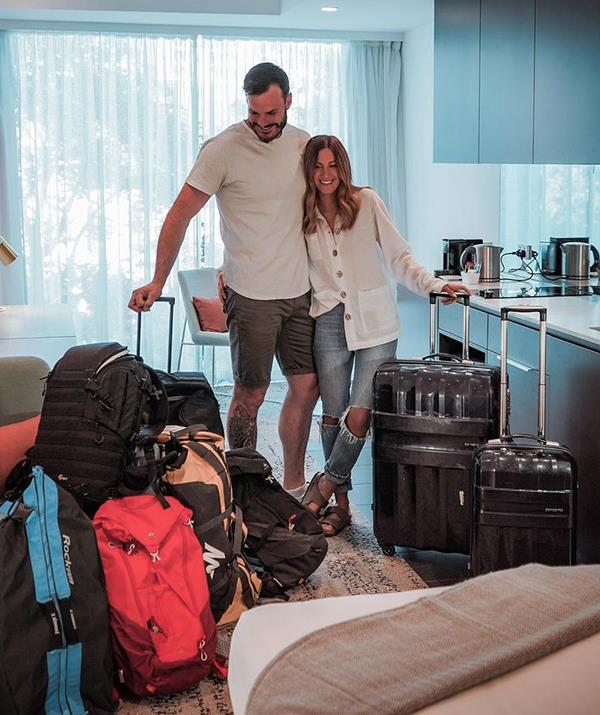 The pair's travels recently came to an end and they moved into a hotel in Perth while hunting for their dream home to purchase together.
