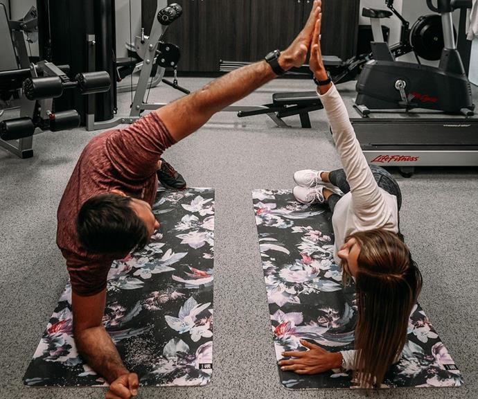 The couple have picked up on a lot of each other's hobbies since dating, including Irena's love for yoga.