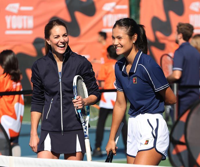 Catherine, Duchess of Cambridge shares a laugh with British tennis champ Emma Raducanu.