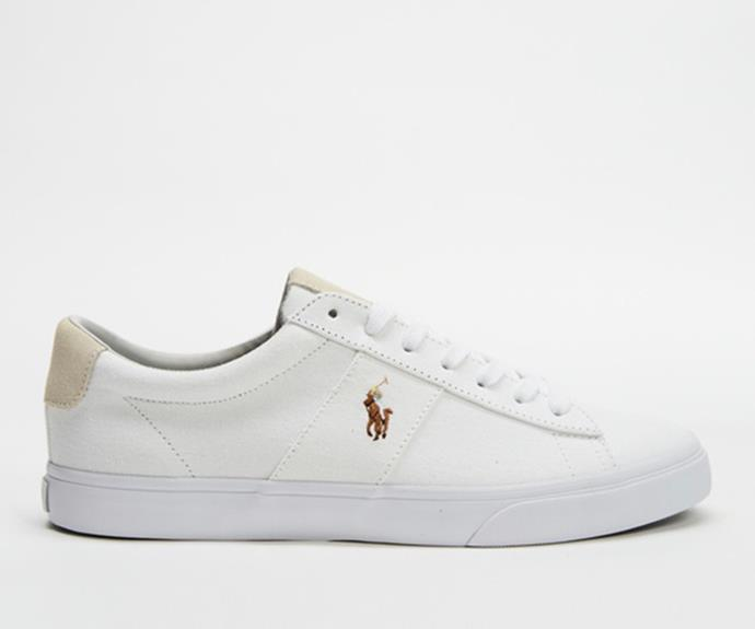 """Polo Ralph Lauren Sayer Sneakers, $119, from [The Iconic.](https://fave.co/39DI2h1 target=""""_blank"""" rel=""""nofollow"""")"""