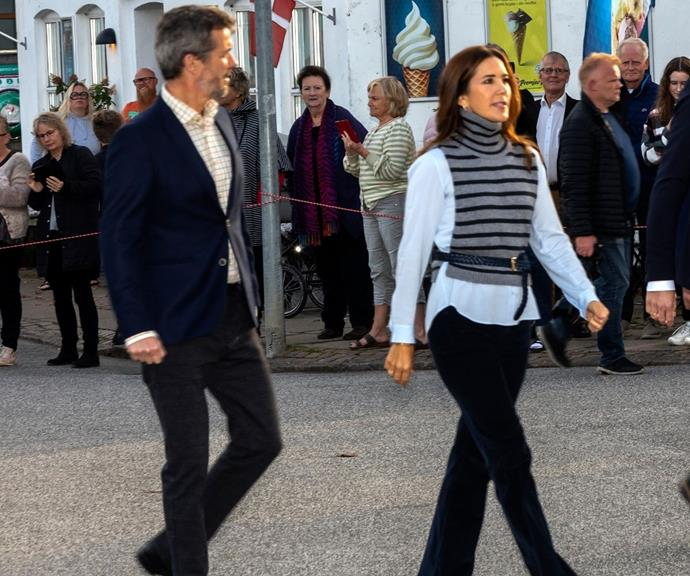 The Danish royal's black pants elevated the whole look.
