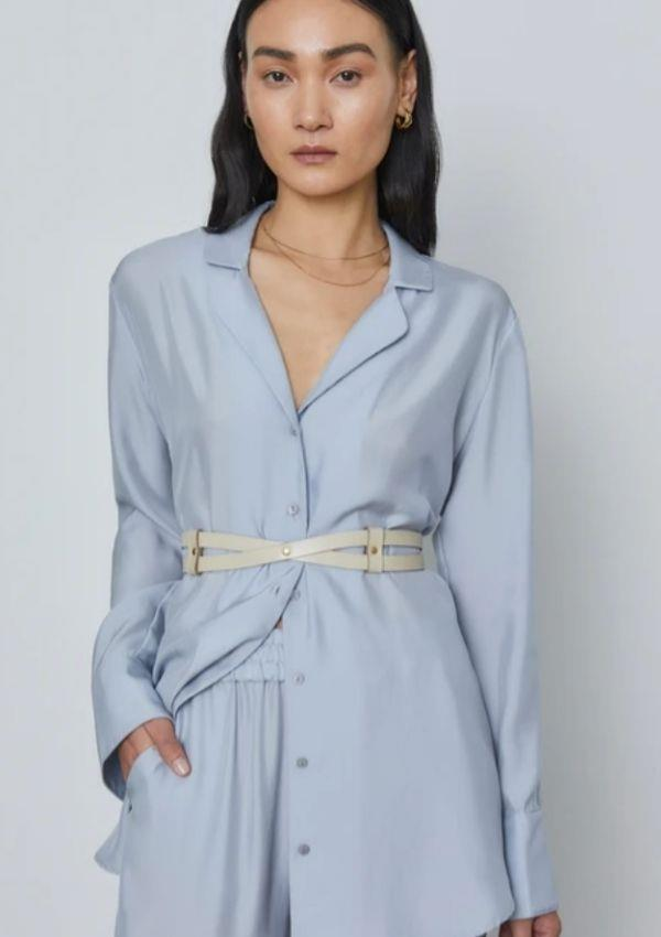 """Falcon Shirt, $390.00, from [Victoria Woods.](https://viktoriaandwoods.com.au/collections/all/products/falcon-shirt-ice-blue