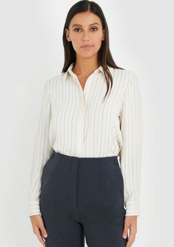 """Forcast Tanya Stripe Shirt, $69.99, from [The Iconic.](https://go.skimresources.com?id=105419X1569321&xs=1&url=https%3A%2F%2Fwww.theiconic.com.au%2Ftanya-stripe-shirt-1337247.html