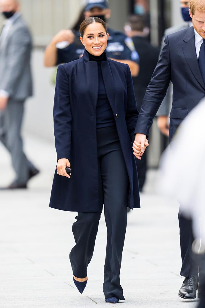 """Royal watchers had their first true glimpse of Meghan's new sense of style when [she and Harry stepped out in New York](https://www.nowtolove.com.au/royals/british-royal-family/prince-harry-meghan-markle-new-york-city-69211