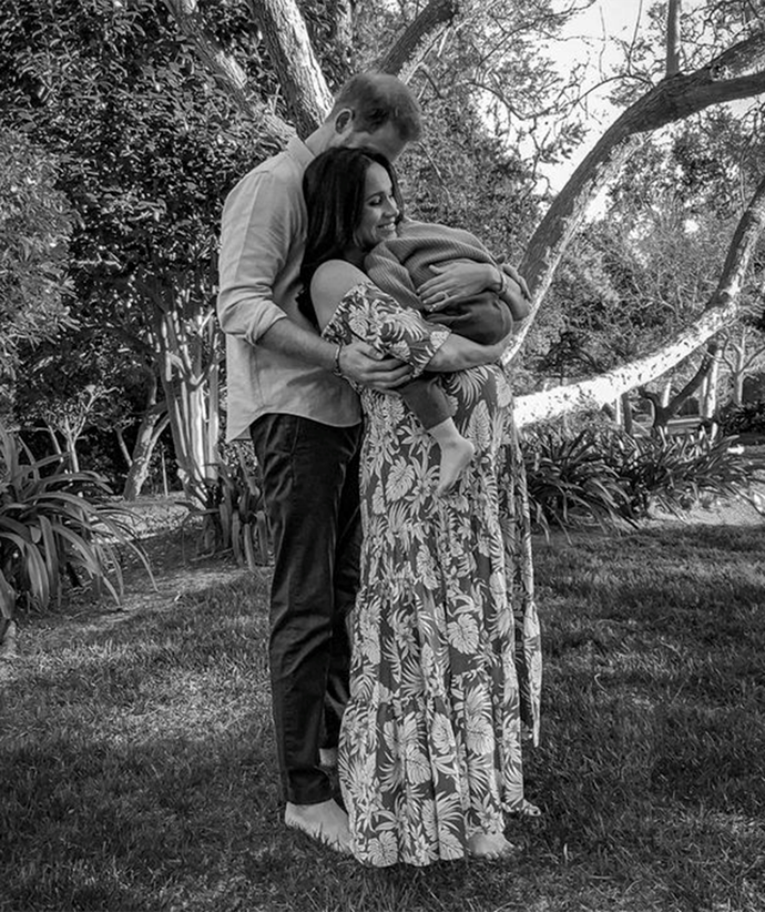 """Meghan donned a relaxed, floral-printed maxi dress and another plain white maxi in a series of photos released in February 2021 to [announce her pregnancy with daughter Lilibet](https://www.nowtolove.com.au/royals/british-royal-family/queen-reacts-prince-harry-meghan-baby-66807