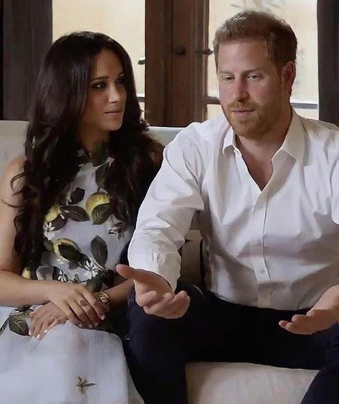 """After announcing she and Harry were expecting their second child, [Meghan wore a feminine Oscar de la Renta frock for a Spotify video](https://www.nowtolove.com.au/royals/british-royal-family/meghan-markle-spotify-appearance-66866