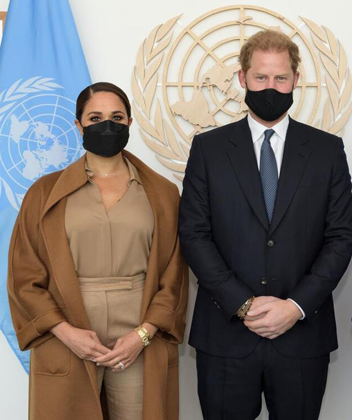 Monochrome seemed to be Meghan's new favourite fashion trend as she attended a meeting with United Nations Deputy Secretary-General Amina Mohammed in this tan ensemble, which featured her Max Mara coat again.