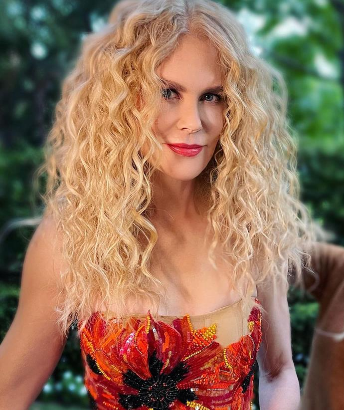 Nicole Kidman embraced her natural curls for the glamorous event.