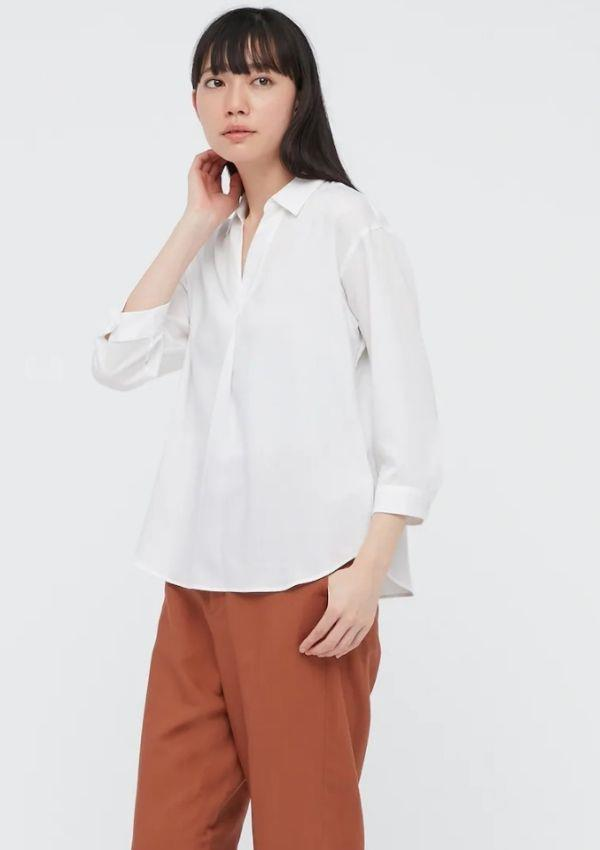 """Woman Rayon Skipper Collar Sleeve Blouse, $39.90, from [Uniqlo.](https://go.skimresources.com?id=105419X1569321&xs=1&url=https%3A%2F%2Fwww.uniqlo.com%2Fau%2Fen%2Fproducts%2FE433605-000%3FcolorCode%3DCOL00 target=""""_blank"""")"""
