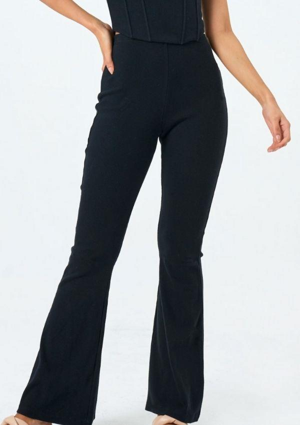 """Knit Flare Pant, $49.99, from [Glassons.](https://go.skimresources.com?id=105419X1569321&xs=1&url=https%3A%2F%2Fwww.glassons.com%2Fp%2Fknit-flare-pant-pw50968rib-black target=""""_blank"""")"""