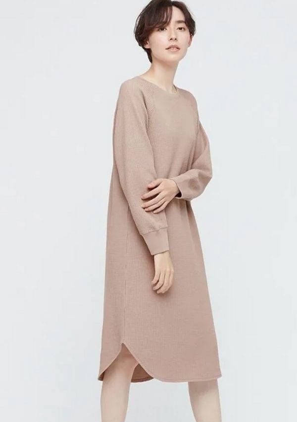 """Women Waffle Crew Neck Long Sleeve Dress, $19.90, from [Uniqlo.](https://go.skimresources.com?id=105419X1569321&xs=1&url=https%3A%2F%2Fwww.uniqlo.com%2Fau%2Fen%2Fproducts%2FE434404-000%3FcolorCode%3DCOL11 target=""""_blank"""")"""