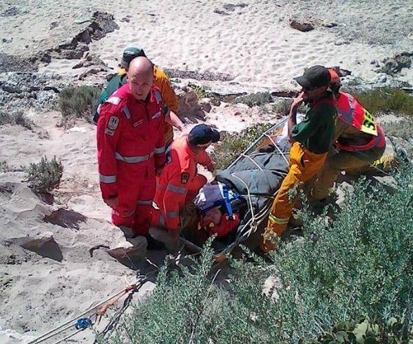 Sue being rescued.