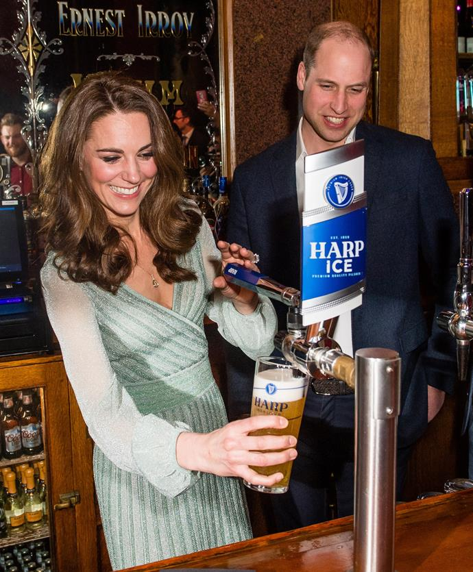 The Duke and Duchess of Cambridge, along with their three children, were spotted enjoying a pub meal.