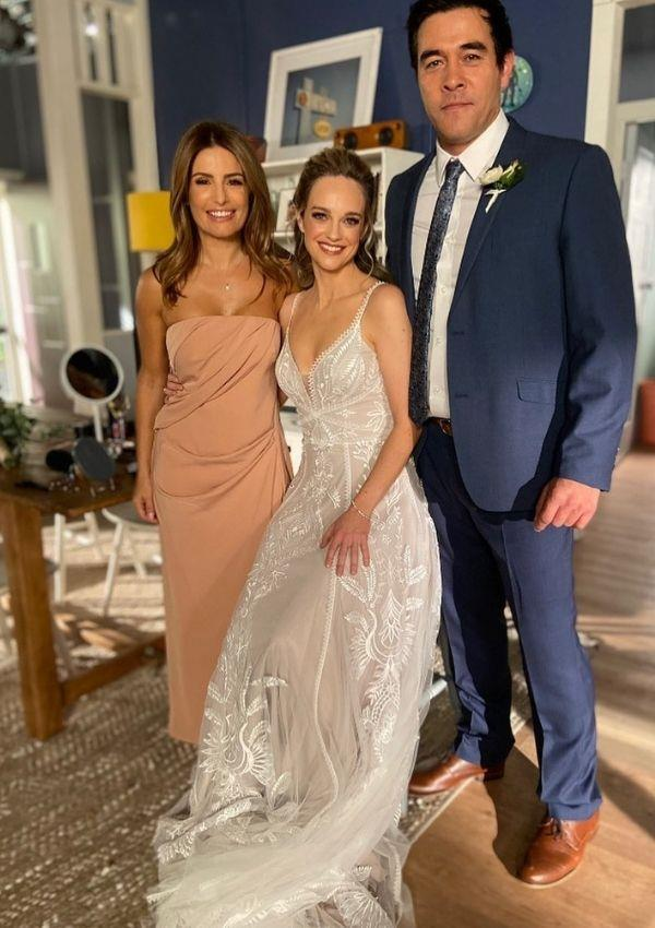 *Home and Away's* makeup artist Laura Vazquez shared a beautiful picture of Penny, Ada, and James Stewart from the big day of filming.