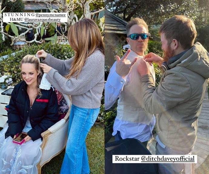 """Tori and Christian's gorgeous wedding was a love-filled on-screen affair, and the behind-the-scenes moments were just as sweet.  <br><br> Sam Frost took to her Instagram to share a picture of Penny McNamee getting a costume hairpiece placed on her head. The actor captioned the snap, """"STUNNING."""" <br><br> For her next post, she shared an image of Ditch Davey in a rock star pose while his shirt collar was attended to, and she wrote, """"Rockstar @ditchdaveyofficial."""""""